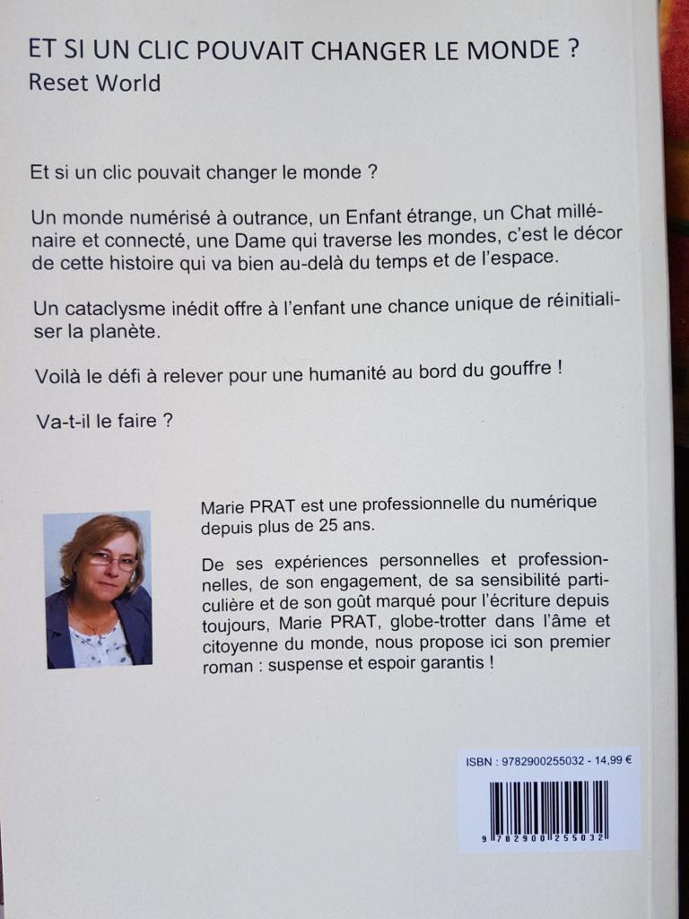 """4ème de couverture de """"Et si un clic pouvait changer le monde"""" de Marie Prat"""